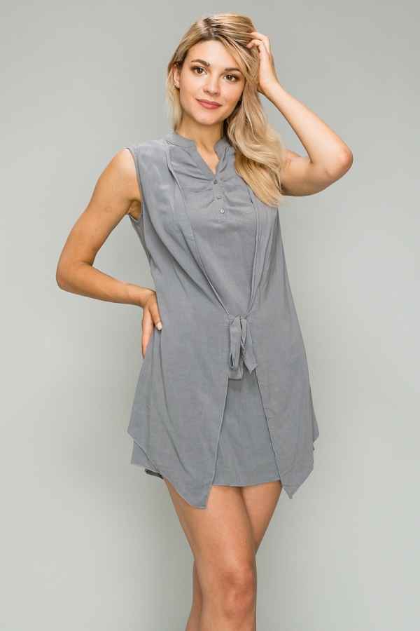 Woven Button Up Tied Dress